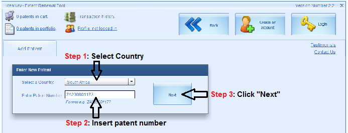 Enter patent number