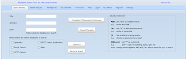 Patent search software