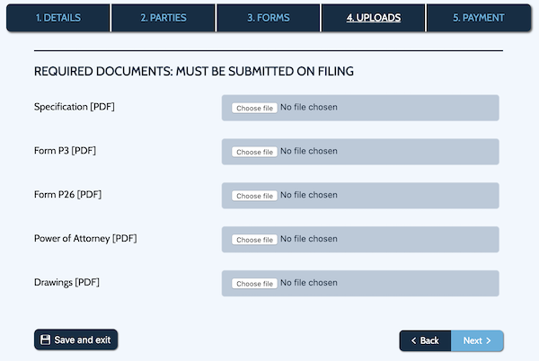 Provisional Patent forms upload